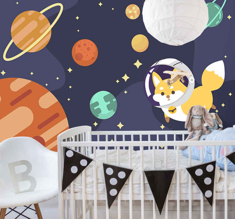 TenStickers. Space fox landscape wall mural. A scenery of space with animals wall mural design created with the sun, stars, moon and animals on it in very beautiful colour that you will love.