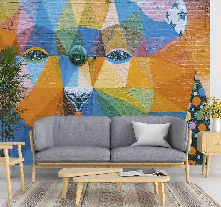 TenStickers. Tribal graffiti Art Wall Mural. Urban and cultural wall mural design that is created in multi colours with a face that has a trace to tradition. This design will beautify your home.