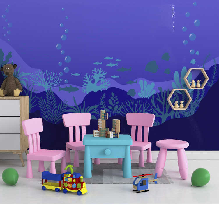 TenStickers. Under the sea landscape wall mural. Under the sea large wall mural design created with the scenery view of the sea in it deep blue colour. Easy to apply with it application kit set.