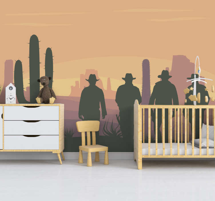 TenStickers. Wild west landscape wall mural. A desert landscape wall mural design created with the silhouette of the wild west personalities and the typical 