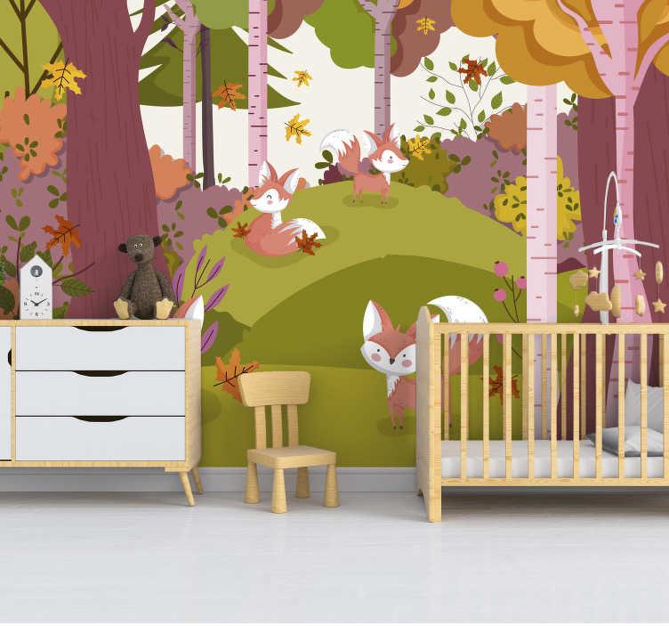 TenStickers. Bosdieren Bosmuur Muurschildering. Een landschapsbos met dierlijke muurschilderingen waarmee u uw huis kunt versieren. Dit ontwerp is van zeer hoge kwaliteit en eenvoudig toe te passen.