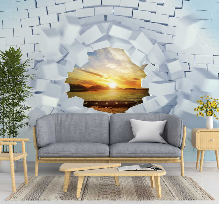 TenStickers. Trompe-l'oeil  3D Mural Wallpaper. Magnificent trompe-l'oeil photo mural with white brick texture. A custom-made product that will look great in your home.