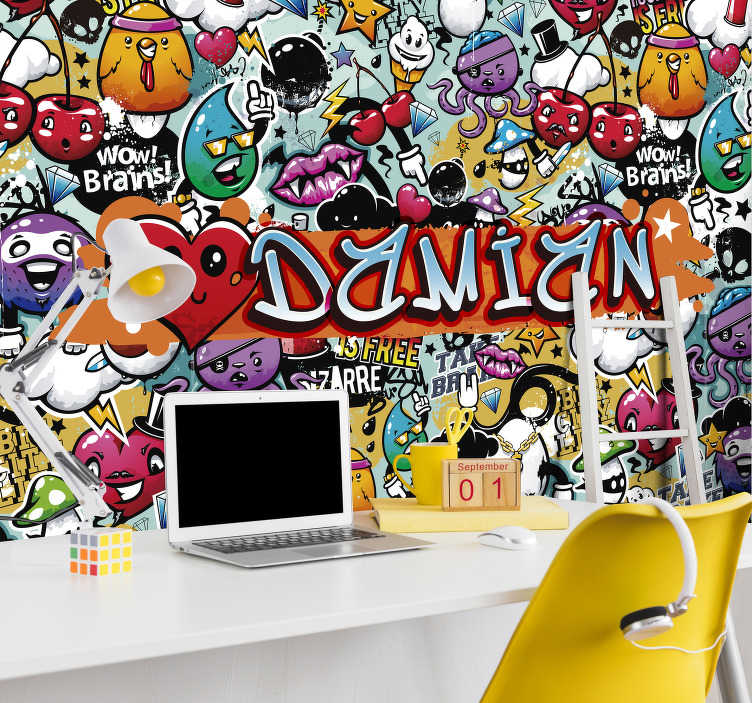 TenStickers. different emoticons Art Wall Mural. Do you like urban art? If so, this photo mural of urban art customizable with the name you want is what you're looking for.