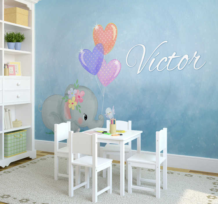 TenStickers. Baby elephant personalised  Nursery Wall Mural. Animal wall mural photo mural for your nursery with an elephant and a little bird displayed. Show love to your child with this beautiful photo mural.