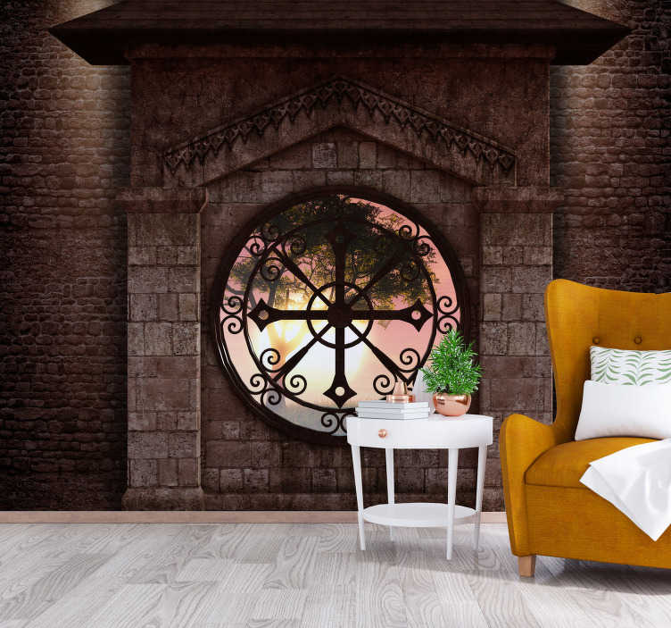 TenStickers. Personalised classic stone view 3D Mural Wallpaper. Brown wall mural of a living room with a large authentic clock illustrated. Perfect to decorate your house and create a morning feeling