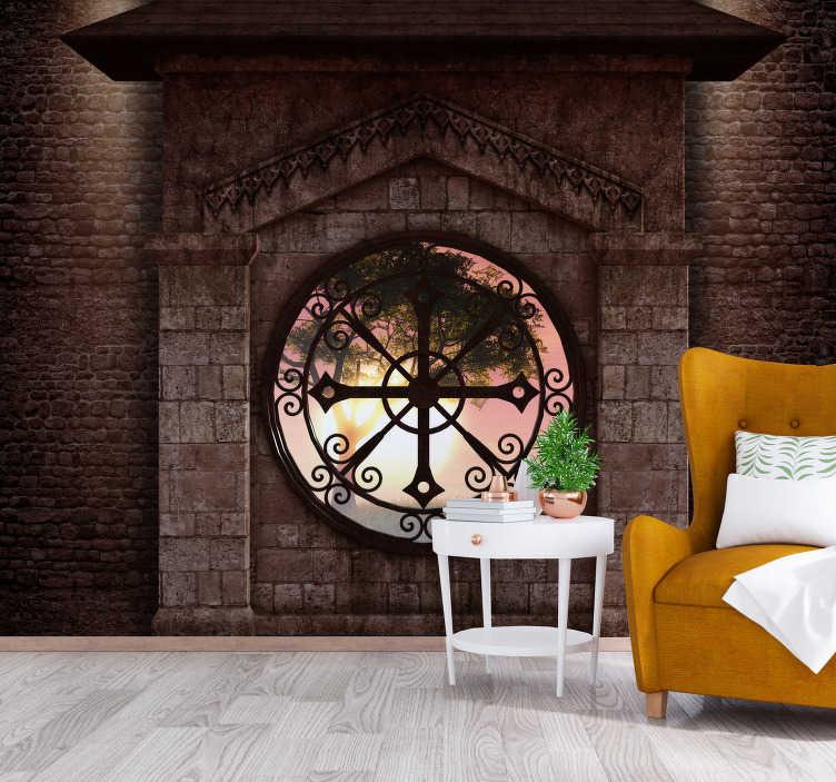 TenStickers. Gepersonaliseerde klassieke stenen weergave 3d muurschildering be. Bruine muurschildering van een woonkamer met een grote authentieke klok geïllustreerd. Perfect om je huis te decoreren en een ochtendgevoel te creëren