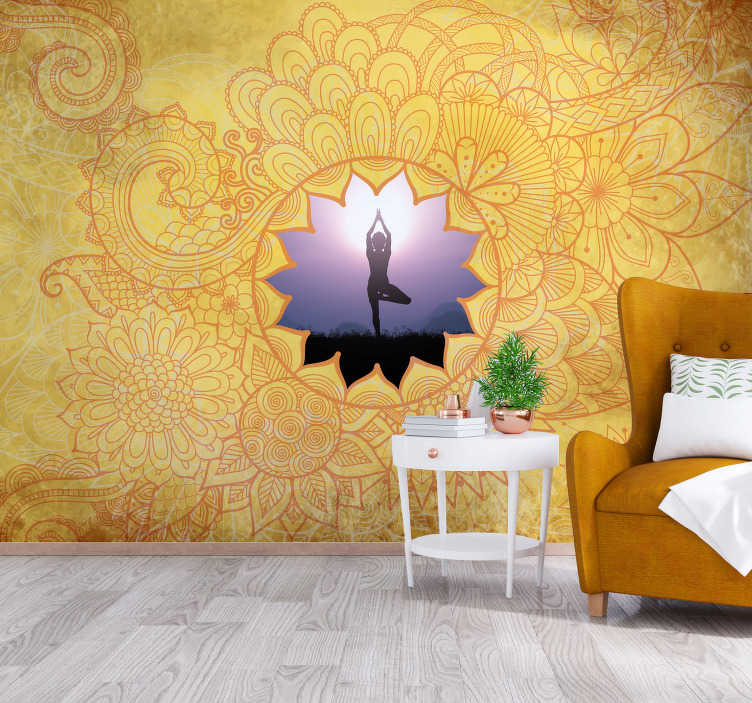 TenStickers. Yellow yoga mandala zen photo wallpaper. Yellow photo wallpaper  is made for you! Placing this mandala wall mural in the room where you like to relax by just looking at it.