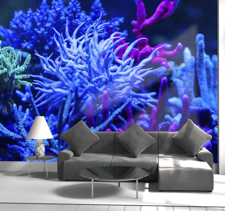 Tenstickers. Blå tone korall landskap fototapet. Dette fototapetet under vann viser en blå tonekorall, som er vakkert avbildet med sine knallblå farger, og er noe du bør ha!