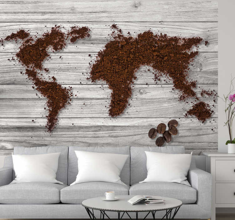 TenStickers. World Map wall mural Coffee. World is all about coffee. We do agree and this textured wall mural is showing the design of continents made out of grinded coffee.