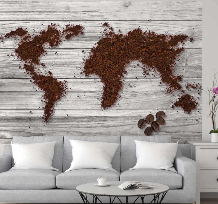 TenVinilo. Mural mapamundi de café textura madera. Fantástico fotomural con textura muestra el diseño de continentes hechos de café molido. Este diseño será fácil de aplicar en su pared.