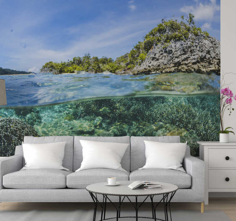 TenStickers. Underwater profile landscape wall mural. This ocean wall mural shows a photograph of a coral reef in the ocean but in the profile The colors on this image are very bright and perfect for you!