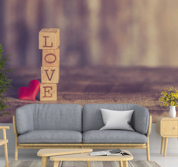 TenStickers. Love wall mural love text in wood. This love wall mural that shows the importance of love in our life by reminding about warmth will be perfect for your bedroom or living room.