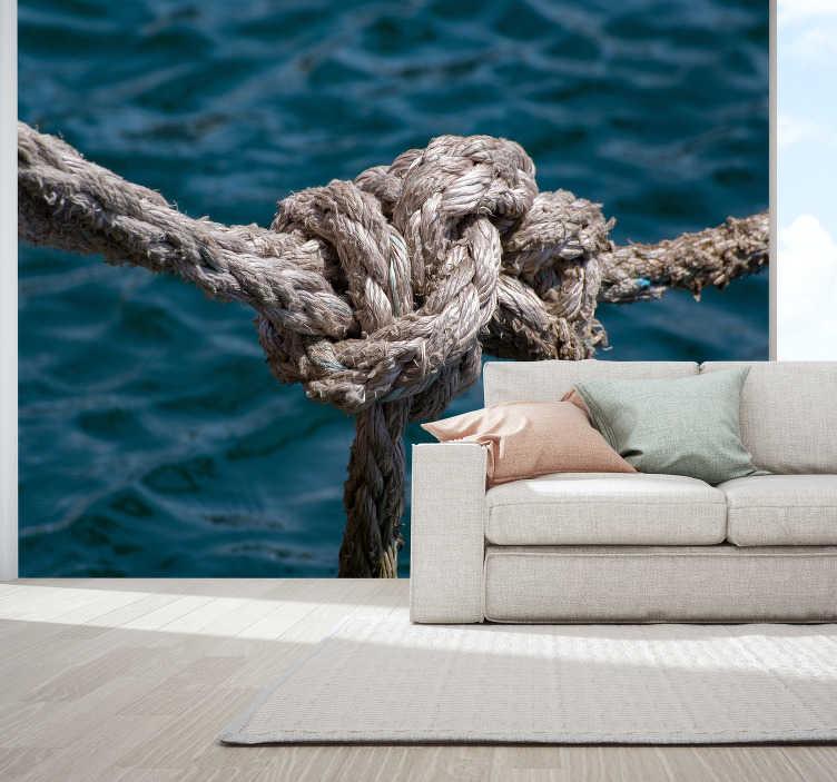 TenStickers. фотообои веревка море. Изображение веревки на фоне безграничного моря в красивом голубом цвете поможет вам чувствовать себя спокойнее и счастливее. эта фреска идеально подходит!