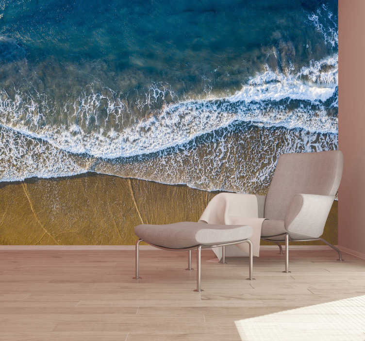 TenStickers. Sand and sea landscape wall mural. Bring beach to your home with this highly realistic scenery wall mural . Feel the warm of sand under your feet just by looking at this piece of art!