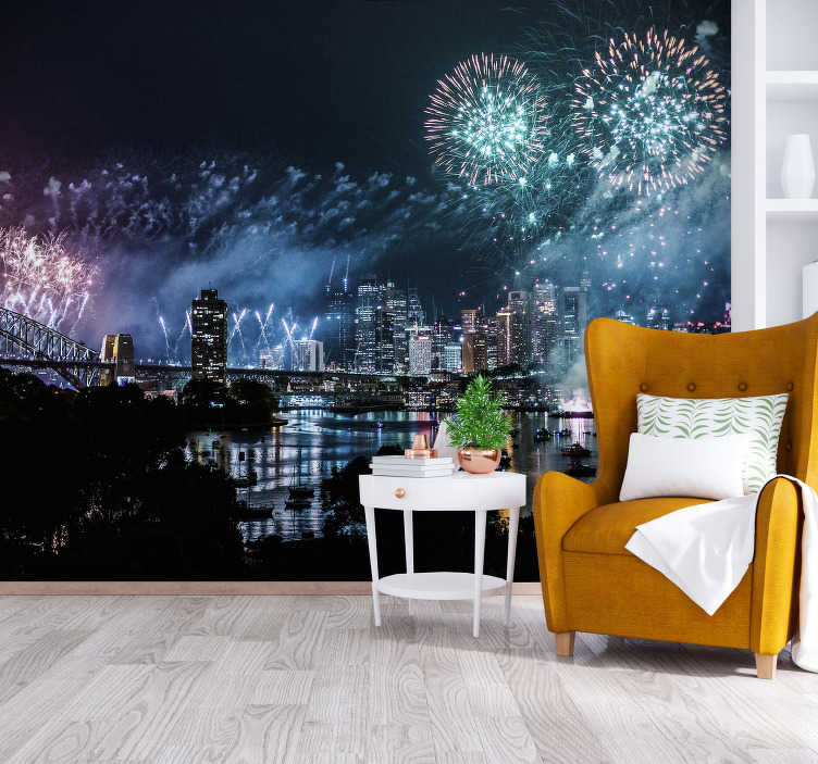 TenStickers. Sydney Fireworks Wall Murals for Bedrooms. Decorate your home's walls with this spectacular city wall mural with a view of Sydney's city lit by fireworks. Perfect for your living room.