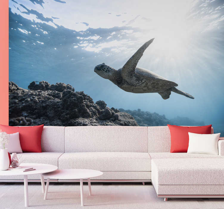TenStickers. Underwater turtle swimming animal wall mural. Enjoy our photo wallpaper , which depicts a soothing water turtle enjoying swimming. Choose a design which suits your wall decoration.