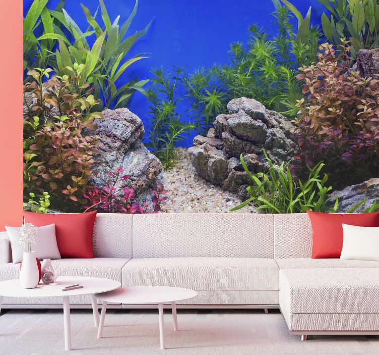 TenStickers. 水下石头和植物景观墙壁画. 水下美丽详细的风景壁纸照片清晰。安心地看着舒适并改变您的装饰!