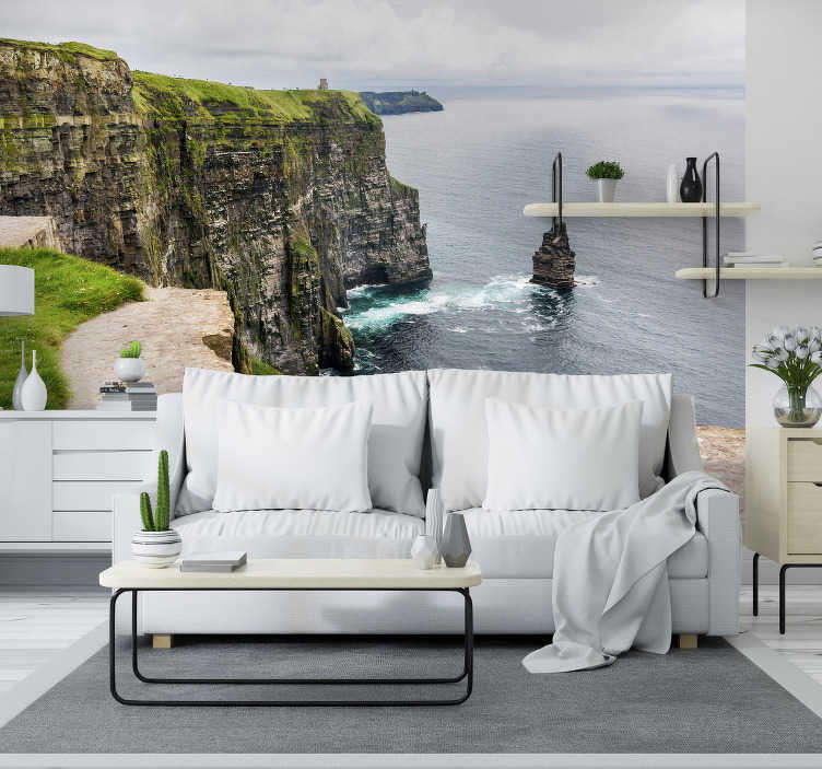 TenStickers. Cliffs Moher  landscape wall mural. With this beautiful photo wall mural you get the opportunity to enjoy this rocky area and the beautiful water surface that will calm your mind & body!
