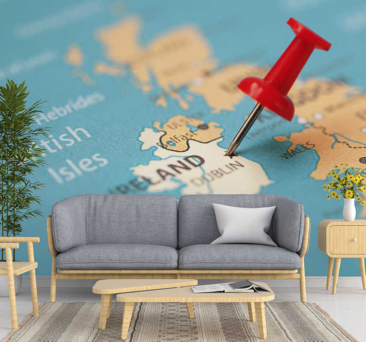 TenStickers. Map wall mural Ireland Map Pinned City. It is time to visit Irleand and put this amazing world map wall mural in your room. High quality, no image noises nor pixels.