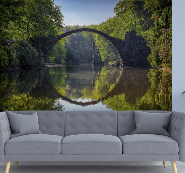 TenStickers. Nature wall mural Bridge Reflection. Order this amazing scenery photo mural and discover advantages of having this piece of art in any room. Easy to apply, tools available on our website.