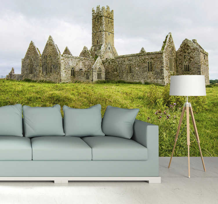 TenStickers. Ross Errilly Friary Wall Murals for Bedrooms. The large wall mural design of the Franciscan Monastery gives you the feeling of being in part of this place, just from your home.