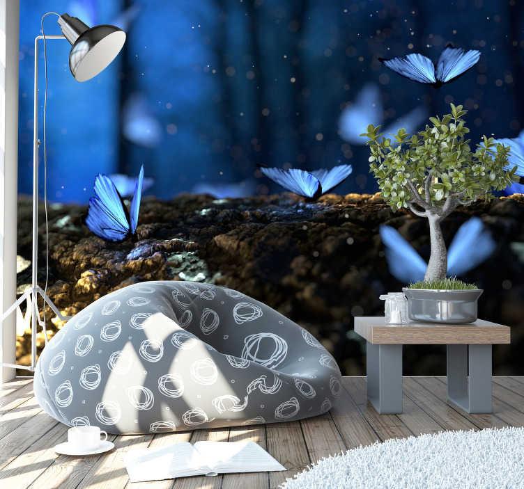 TenStickers. 푸른 나비 벽화 벽지. 당신은 아름다운 나비를 좋아합니까? 그들이 날아가는 것만으로도 평화가 풀릴까요? 이 사진 벽지가 있어야합니다!