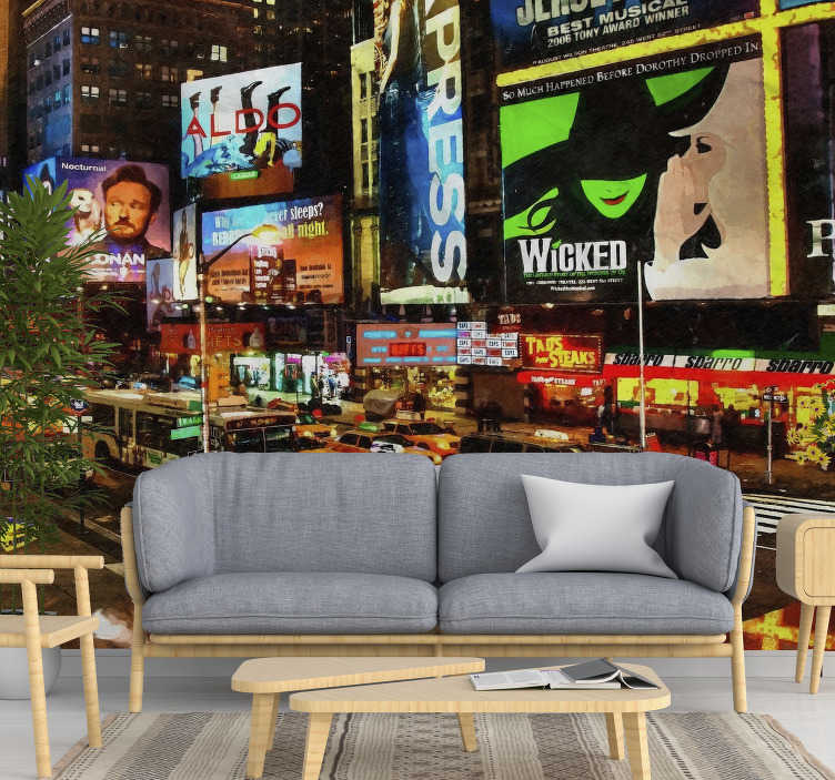 TenStickers. City Lights NY new york skyline wall mural. This design will look spectacular in the living room and even the bedroom. This product is of very high quality matte and it is very easy to apply.