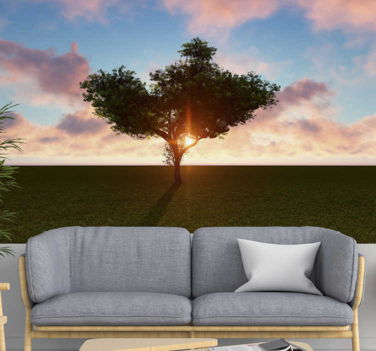 TenStickers. Lonely tree at sunrise landscape wall mural. Nice lonely tree on an empty lawn forest wall mural for the living room or bedroom. Buy it now  in the size that you want, and you won't regret it.