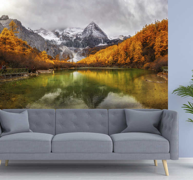 TenStickers. lake an rocks landscape wall mural. Beautiful lake photo wallpaper with rocks that you can apply in the house for a beautiful look that you will enjoy for a long time.