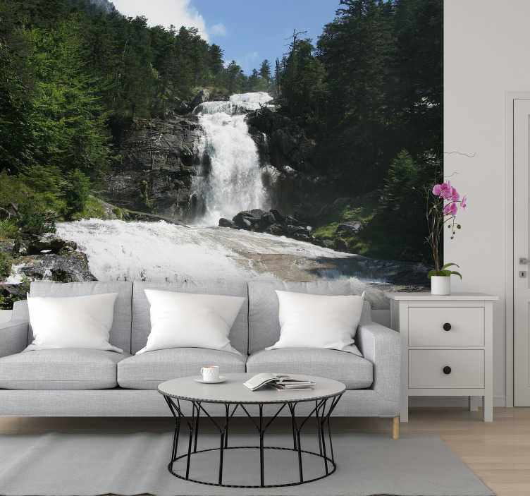 TenStickers. Beautiful waterfall landscape wall mural. Do you love nature and can it make you feel completely at ease? Then bring nature into your home without going there!  You will enjoy it