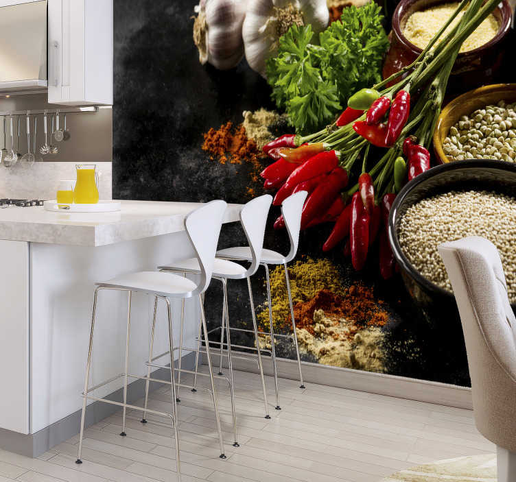 TenStickers. Spices 3D Mural Wallpaper. Spice up your kitchen, literally! This easy way of decorating your home is possible with our modern 3d Mural wallpaper. Best quality you can find!