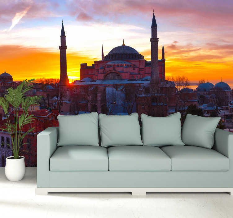 TenStickers. Istanbul Sunset mural wallpaper. Bring a bit of Istanbul into your home by taking this beautiful photo wall mural, on which you can see the mosque on a beautiful sunset.