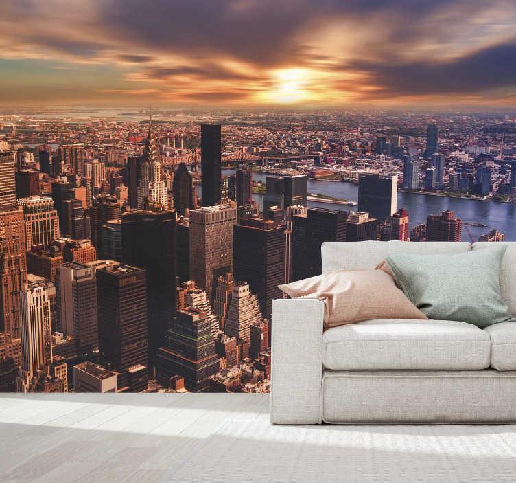 TenStickers. Fotomural de parede de NY sonho de vista. Uma bela mural de parede de Nova York com uma vista magnífica dos seus edifícios ao pôr do sol.