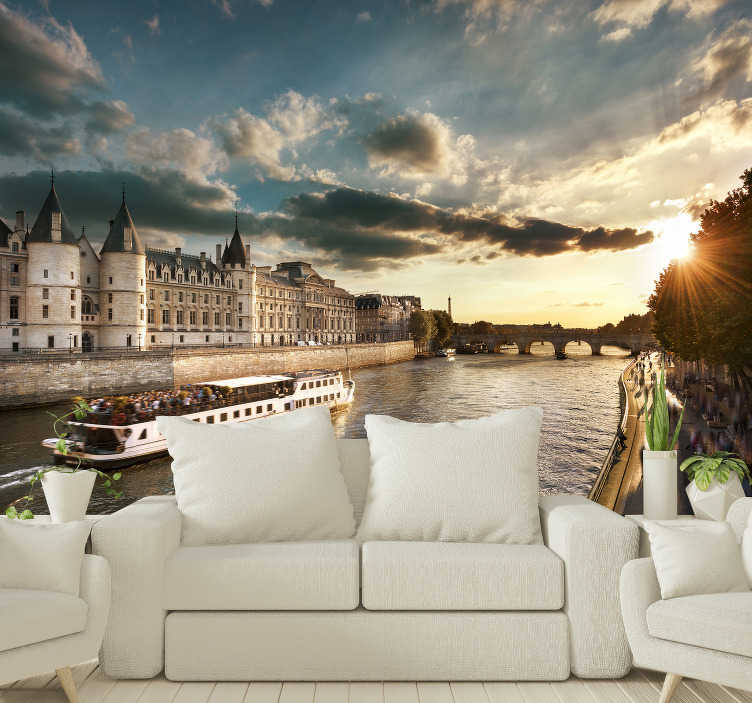 TenStickers. Paris trip on the Seine City wall mural. Do you love Paris and does a boat trip in one of the most famous cities in the world appeal to you? Then this Paris map wall mural is perfect for you!