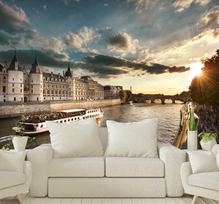 TenStickers. Paris trip auf der seine Fototapete. Lieben sie paris und gefällt ihnen eine bootsfahrt in einer der berühmtesten städte der welt? Dann ist dieses Tapete von paris perfekt für sie!
