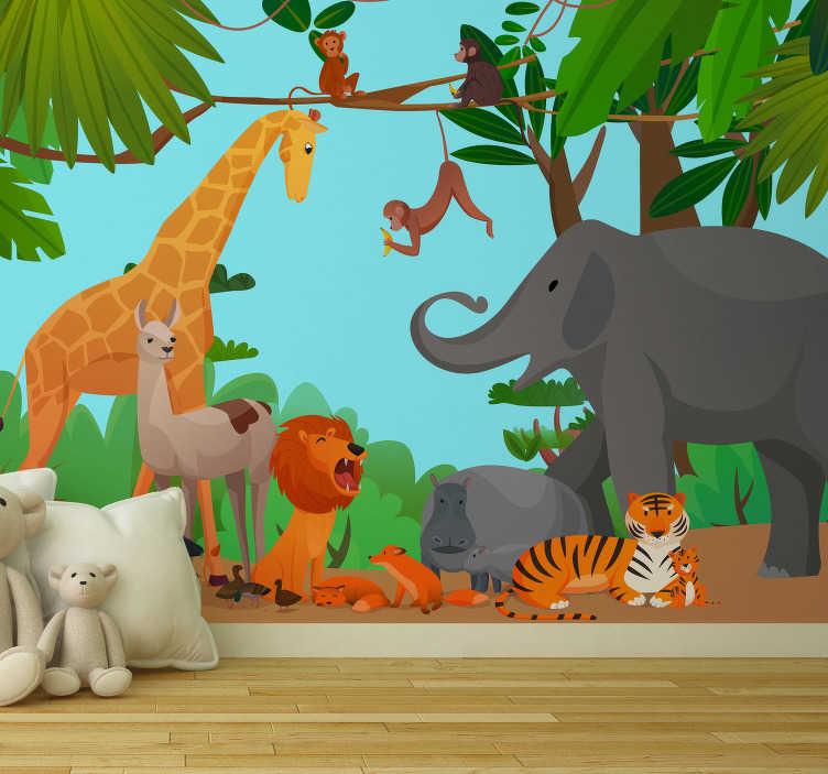 TenStickers. Fototapeta dżungla z wesołymi zwierzętami . Wyjątkowa fototapeta dla dzieci jest idealna do umieszczenia w ich sypialni lub pokoju zabaw.  Projekt zawiera zwierzęta takie jak żyrafa, słoń i więcej.