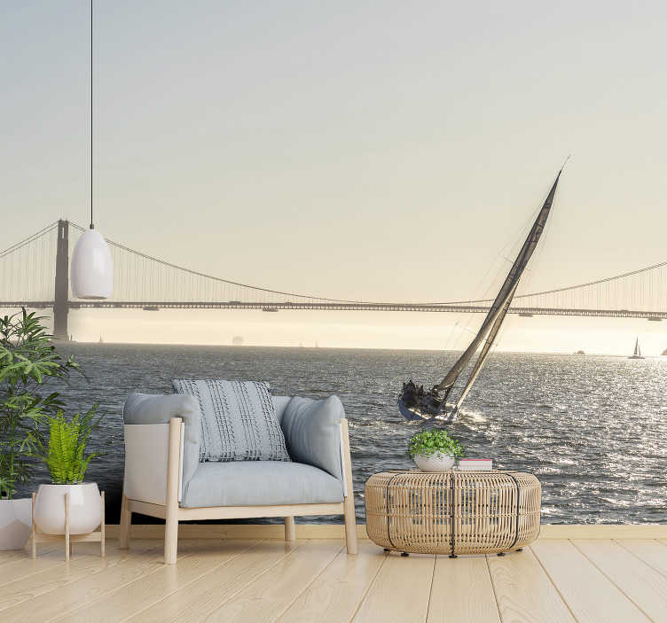 TenStickers. San Francisco Bay City wall mural. Feel the inner peace that is released by taking this beautiful landscape wallpaper photo into your home!  Find the instructions on our website.