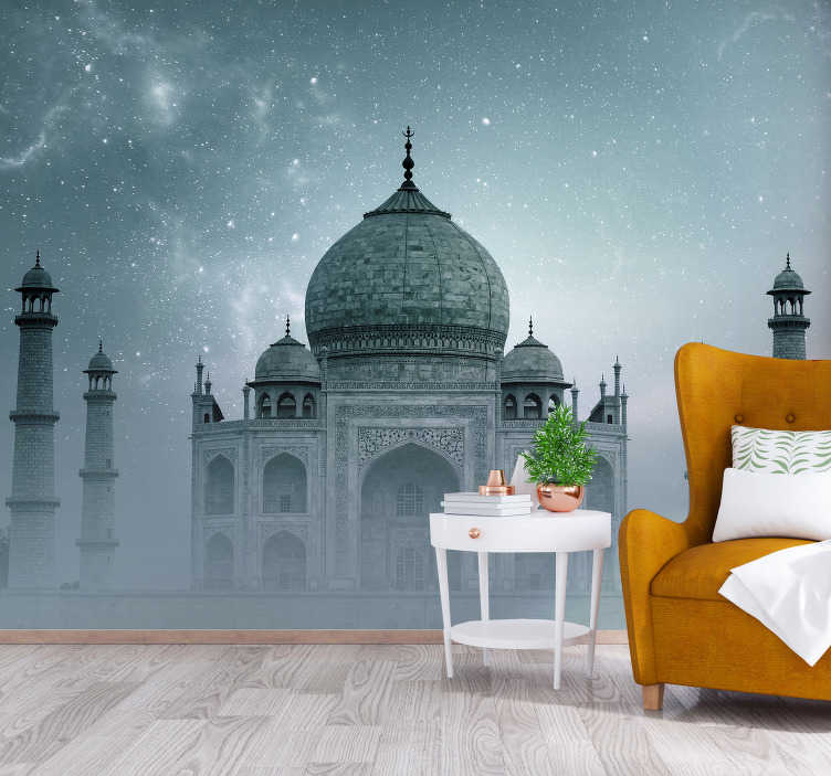 TenStickers. Taj Mahal by night mural wallpaper. This giant wall mural shows the building in the dark that is surrounded by stars. You can have this product in your desired size