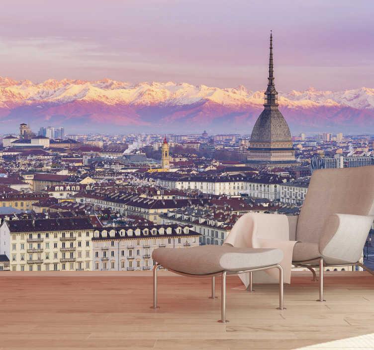 TenStickers. Fotomurale di Torino con vista aerea. Porta questo bellissimo murale fotografico in cui viene mostrata la città di Torino. Puoi avere questo prodotto nella dimensione desiderata