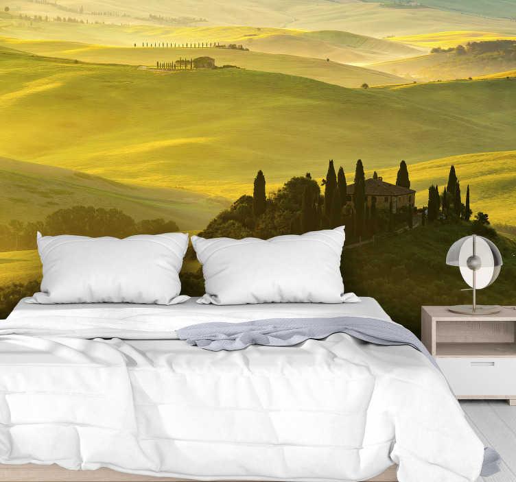 TenStickers. Carta da parati murale dei campi della toscana. Con questa bellissima foto di carta da parati di montagna verde brillante e gialla che raffigura i campi della toscana, creerai una bella superficie sulle tue pareti.