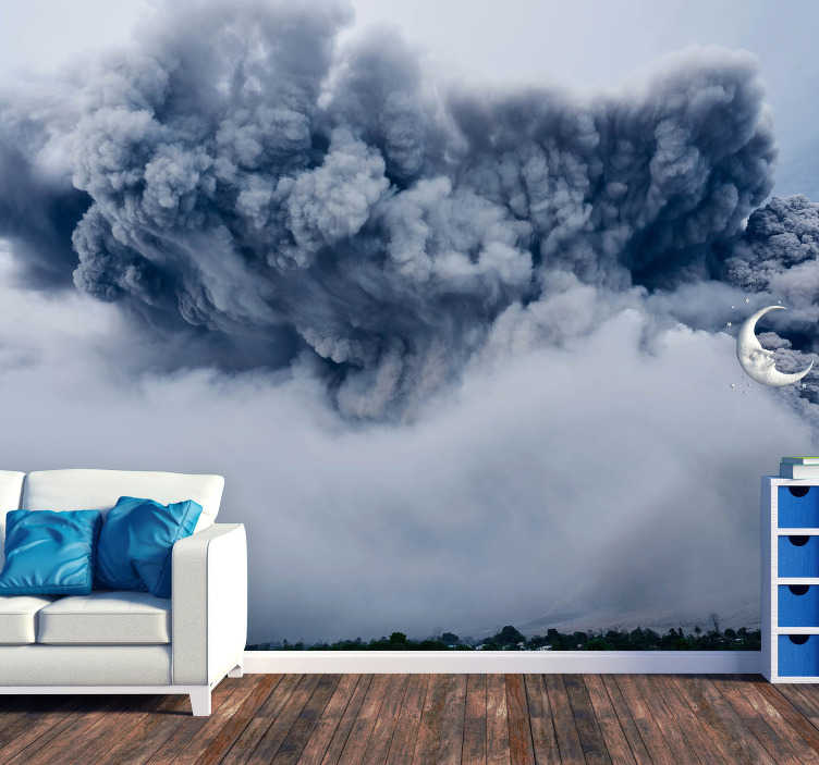TenStickers. Ash cloud landscape wall mural. Powerful outburst of cloud of ashes proves how powerful our universe is. This high quality scenery wall mural will remind you of this every day!