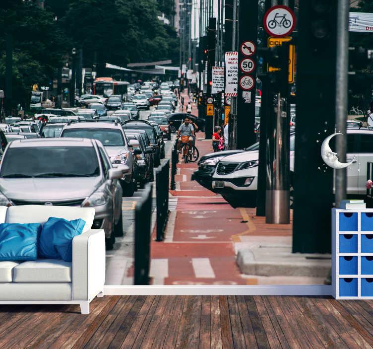 TenStickers. Mural decorativo de cidades Avenida Brasileira. Um espetacular mural de parede decorativo de cidades com uma foto de uma avenida movimentada do Rio de Janeiro para quem gosta da adernalina das grandes cidades.