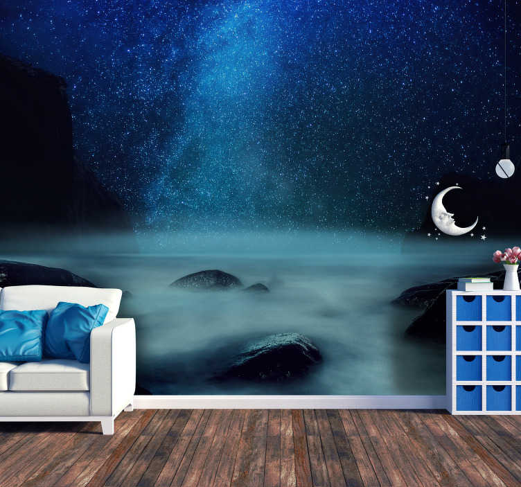 TenStickers. Bright Cost Sky landscape wall mural. Relax in your living room or bedroom with this splendid sky wall mural with a breathtaking view of a starry sky. +10,000 satisfied customers.