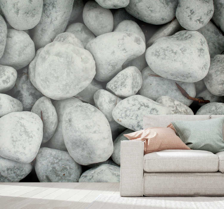 TenStickers. Cold Stones landscape wall mural. Wonderful nature wall mural with an image of light gray stones that will make your spaces much more beautiful. A perfect product for relaxation areas.