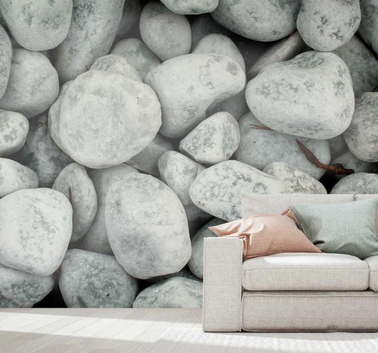 TenStickers. Nástěnná malba studené kameny. Nádherná příroda fototapeta s obrázkem světle šedých kamenů, díky kterým budou vaše prostory mnohem krásnější. Ideální produkt pro relaxační oblasti.