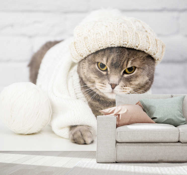 TenStickers. милая коричневая кошка фотообои. Эта фреска с изображением милой коричневой кошки может быть размещена в любой комнате. оставьте своих посетителей с удивлением. сделать ваш дом лучше с этим красивым дизайном.