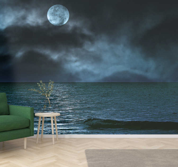 TenStickers. Dark Full Moon landscape wall mural. Spectacular sea wall mural with an image of the sea illuminated by the full moon that can be seen between the clouds perfect for your living room.