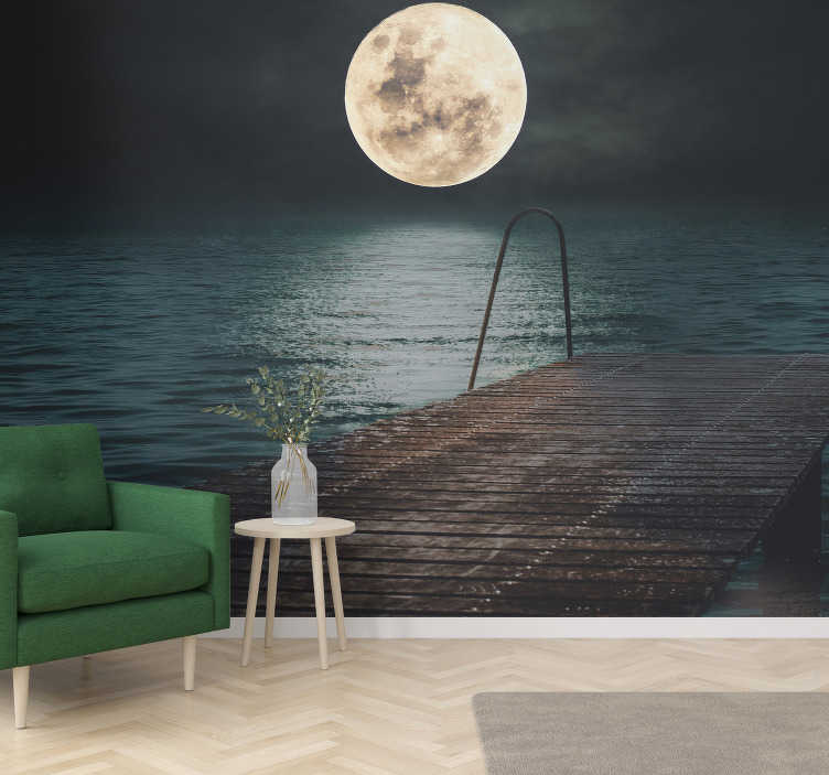 TenStickers. Full moon in the sea landscape wall mural. Relax in your living room  with a breathtaking view of the full moon seen from a harbor by the sea with this sea wall mural.