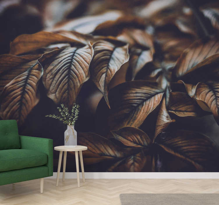 TenStickers. Golden Leaves mural wallpaper. Fantastic nature wall mural with a photo of leaves in brownish tones alluding to Autumn that will look beautiful in your home decor.