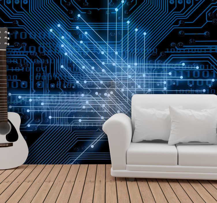 TenStickers. Slaapkamer muurschildering interconnecties. Moderne fotobehang van hoge kwaliteit zal uw interieur transformeren tot interessante plaatsen die wachten op uw gasten om die kunst te komen interpreteren.